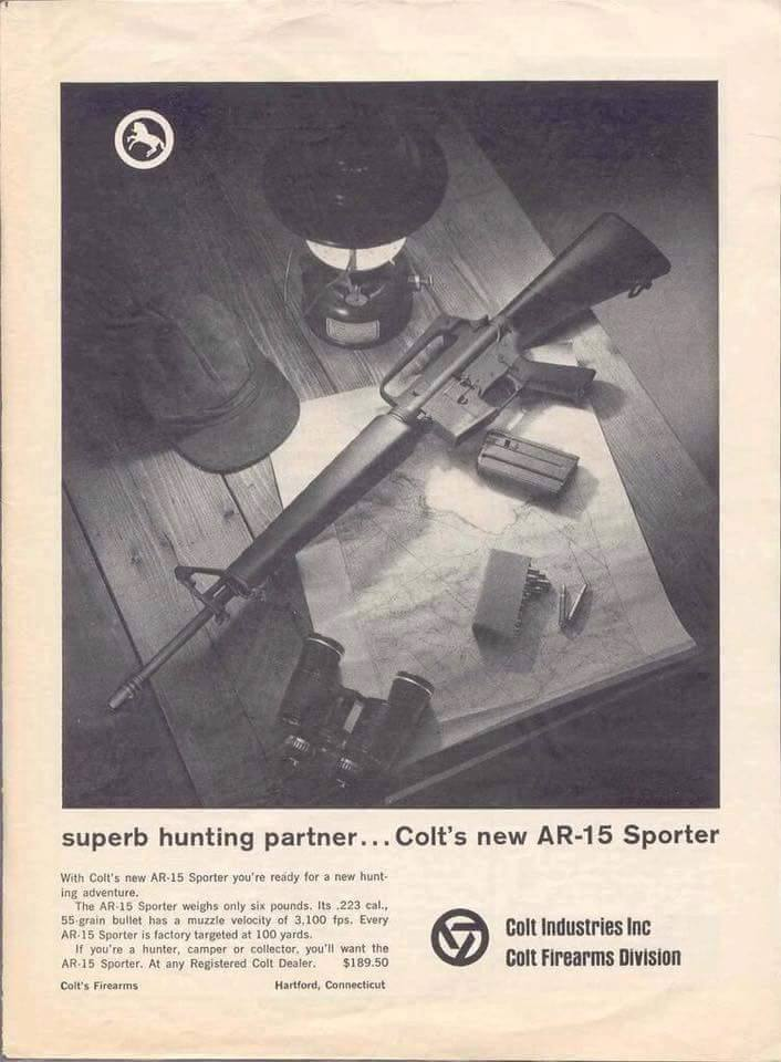 Colt AR mktd as hunting rifle BEFORE m16a1 used by military
